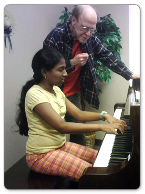piano lesson student from Cary, NC with harrison fisher learning to play the piano.